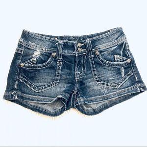 Miss Me distressed hemmed short short jeans 26